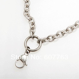 "Wholesale Thick Charm Chain Necklace - 316L Stainless Steel Thick O Shaped 24"" Inches Double Lobsters Clasp Glass Locket Chain For Floating Charm Locket 24 pcs Lot"