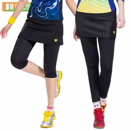 Wholesale women skirt pant leggings - Wholesale- New Sports Women Fake 2-Pieces Running Leggings Hot Outdoor Fitness Tennis Pants Skirts New Gym Female Badminton Tights Skirt