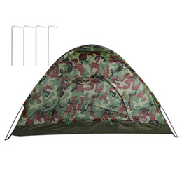 Wholesale Two Person Canvas Tent - Wholesale- Outdoor Portable Single Layer Camping Tent Wigwam Camouflage 2 Person Waterproof Lightweight Beach Fishing Hunting New Style