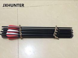 flechas de alumínio Desconto 12 peças de tiro com arco flecha de besta seta 20 polegada de alumínio besta flecha parafusos com 100 pontos de alvo de ganho