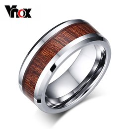Wholesale Wood Carbide - Wholesale- Vnox 100% Real Tungsten Carbide Ring Men's Wedding Ring Retro Wood Grain Design Fashion Party Gift