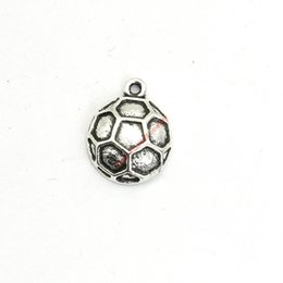 Wholesale Antique Jewelry Football - 30pcs Antique Silver Plated Football Charms Pendants for Bracelet Jewelry Making DIY Necklace Craft 17X13mm