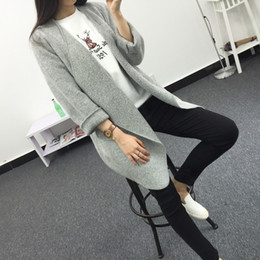 Wholesale Grey Knit Cardigan Women - Wholesale- 2017 New Spring Autumn Womens Cardigans Sweater long Sleeve Color Grey Khaki Outwear knitwear Womens Clothing Clothes