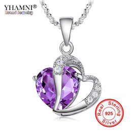 Wholesale Fine Heart Necklace - YHAMNI Fashion Fine Jewelry Real 925 Silver Romantic Heart Purple Crystal Pendant Necklace For Women Pure Silver Jewelry Necklace BKN013