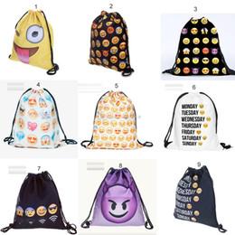 Wholesale Cartoon 3d Shoulder Bag - 2016 New emoji Drawstring bag 3D smile face bag oxford cloth Pouch backpack Children gift C372