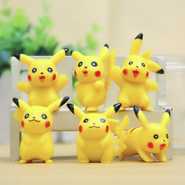 Wholesale Pokemon Figure Collection - 6 Styles Lot Pikachu mini Action Figures Poke Center Models Poke Go Japanese Anime Collection Toys PVC Cute Pikachu Cartoon Doll