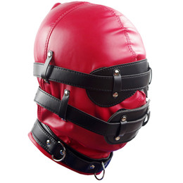 Wholesale Male Fetish Leather Harness - Red Mask Harness New Fetish PVC Soft Leather With Goggles Multiplex Hood Adult Sex Game Headgear