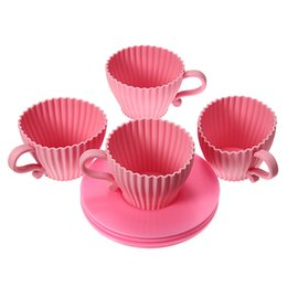 Wholesale Silicone Tea Cake Moulds - Best Promotion 4pcs Pink Silicone Cupcake Cups Cake Mold Muffin Baking Mould Chocolate Tea Cup Case New Arrvial