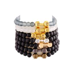 Wholesale Beads Bracelet Mens Black - 15styles 2017 Mens Matte Beads Bracelet Live Lift Dumbbell Fitness Rockmen 6mm Beaded Spring Bracelet BB39