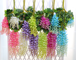 Wholesale Hanging Flowers For Parties - Retail Artificial Wisteria Vine Rattan 110cm 75cm 6 colors Decorative Bouquet Garlands for Party Wedding Home Free Shipping