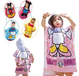 Wholesale Children Terry Bathrobes - Baby Hooded Bathrobe Cartoon Bath Towel High Quality Baby Bath Terry 6 Styles Pooh Donald Hello Kitty Bathing Robe For Children 12PCS Lot