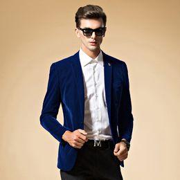 Wholesale Velvet Blazer Sale - Mens blazer high quality suit jacket korean fashion velvet blue blazer Male casual jacket single breasted plus size 6XL on sale