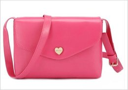 Wholesale Heart Shape Shoulder Bags - New Brand Women's PU squared shape shoulder bag with heart rivert seven colors