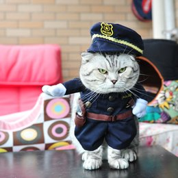 Wholesale Cool Winter Coat For Dog - Pet Dog Cat Costume Cool Police Uniform with Hat Cute Pet Policeman Outfit Clothing 4 Defferent Size for Pets