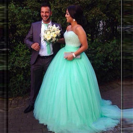 Wholesale 15 Dresses Free Shipping - Masquerade Ball Dresses 2016 Free Shipping Vestido Debutantes 15 Ano Mint Green Heavy Beaded Ball Gown Quinceanera Prom Dresses