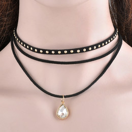 модная бижутерия оптом Скидка Wholesale-Steampunk 3 Layers Black Ribbon Chocker Necklace Women Fashion Jewelry Bib Necklace Collier Bijoux Femme Collares