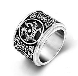 Wholesale Gothic Dragon Jewelry - Wholesale-Hot Sale Punk Double Layer Rotatable Rock Stainless Steel Mens Biker Rings Vintage Gothic Jewelry Dragon Evil Luck Totem Ring
