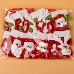 Wholesale Gloves Cartoon - 12pcs Christmas Socks Santa Claus Snowman Gloves Small Ornaments Christmas Tree Small Ornaments Accessoriesdecoration Supplies