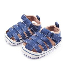 Wholesale Wholesale Boys Denim - New Baby Sandals for Boys Denim Fabric Crossed Upper Hook&loop T-tied Toe Protection Anti-slip Soft Sole