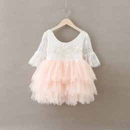 Wholesale Crochet Tulle Tutu Dress - Christmas Baby Girls Crochet Lace tulle Dresses Kids Girl Princess tutu Floral Dress Girl Autumn Pearl Party Dress 2016 Babies clothes