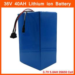 Canada Haute capacité 1500W 36V Ebike e-moto e-scooter 36V Batterie au lithium 40AH Utilisation 3.7V 5.0AH 26650 cellules avec chargeur 50A BMS 4A Offre