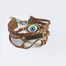 Wholesale Braclet Charms Wholesale - Charm Bracelets for Women Angel Devil Eyes Cuff Bracelets Evil Eye Braclet Men Male Vintage Jewelry Leather Bracelet