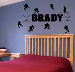 Wholesale Boys Name Wall Decals - Custom Made Name Wall Stickers Hockey Sports Personalised Man Wall Decals Wallpaper Art Boys Room Decorations WS335