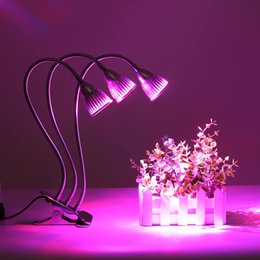 Wholesale Clip Flexible Desk Lamp - 15W Three Head LED Grow Light Clip Desk Grow Lamp with 360 Degree Flexible Gooseneck and Three Separate Control Switches for Office, Home