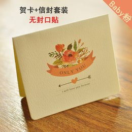 Wholesale Korean Stationery Paper Envelopes - Wholesale- 6pcs lot New Year Greeting Card Vintage Envelope Christmas Set Korean Creative Birthday Card Letter Paper Stationery Supplies WZ