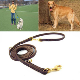 Wholesale Heavy Duty Leather - Dog Leash Multi-functional Adjustable Heavy Duty Long Brown Genuine Leather Braided Training and Walking Running
