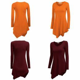 Wholesale Wholesale Long Tunic Tops - Autumn Spring Stylish Women's T-Shirt Hem Line Long Sleeve Lightweight Knit Tunic Tops T-shirts New Size M-2XL