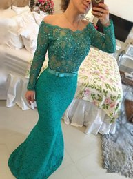Wholesale Emerald Green Jacket - Modern Emerald Green Lace Mermaid Evening Dresses Lang Sleeve Off Shoulder Pearls Backless Floor Length Evening Gowns Special Occasion Dress