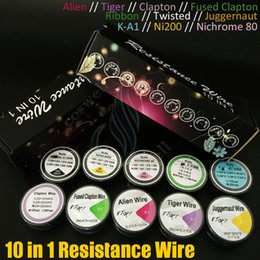 Wholesale A1 Vapors - 10in1 Resistance wire drawing box K-A1 Ni200 Nichrome 80 Ribbon Twisted Fused Clapton Alien Tiger Juggernaut DIY Vapor RDA Pre Coils Kit