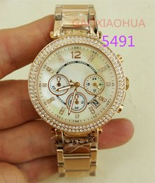 Wholesale M Watch Brands - womens watches luxury brand M Hour 5491 high quality Chrono Graph Wrist Hours Clocks Time golden female watch with box