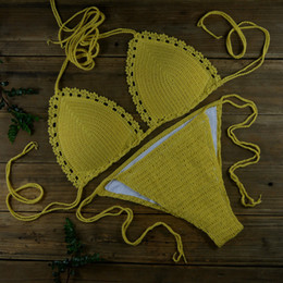 Argentina Conjunto de bikini sexy de encaje amarillo - Después de acordonado Con cojín de pecho - Piscina de playa Spa Trajes de baño de aguas termales 13 Color Suministro