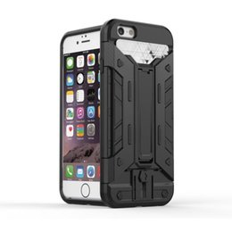Wholesale Iphone5 Case Silicone Card - Shockproof Hybrid PC+Silicone Phone Cases for iphone5 se iphone6 6plus Kickstand Holder With Credit Card holder slot