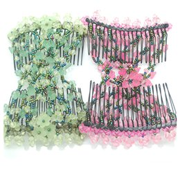 Wholesale Hair Stretch Combs - Fashion Women Morning Glory Flower Hair Clips Ez Stretch Double Combs Clip for Bridal Wedding Hair Accessories