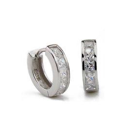 Wholesale Hoop Cuff Earring Silver - 925 Sterling Silver Stud Earrings For men Crystal jewelry Hoop Piercing earring Hooks Ear Cuff jewelry for women men Hip Hop rock Jewelry