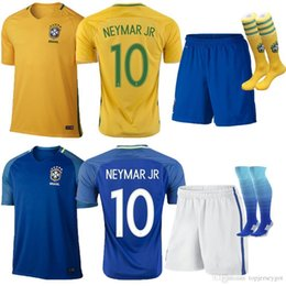 0f359640a Chinese wholesale 2017 NEYMAR Brasil Soccer kids Jersey Kits Football Kids  shirts and Short Boys uniform