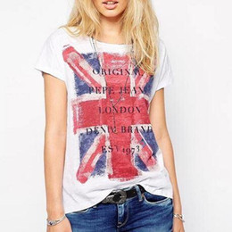 Wholesale Women S Union Jack Shirt - Women British Union Jack flag T shirt O neck short sleeve the United Kingdom Camisa Social Feminina shirt casual tops DT81