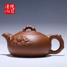 Wholesale Yixing Purple Sand Teapot - Freeshipping teapot Yixing ore purple sand kettle all handmade Kongfu tea set rich flower tea pot 200cc