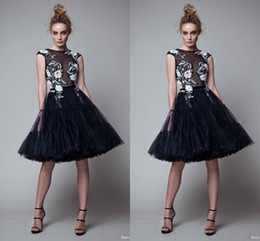 Wholesale Tutu Cocktail Dresses Pink - Black Short Party Dresses With Colorful Embroidery 2017 Tulle Tutu Skirt Knee Length Homecoming Dresses See Through Cocktail Party Gowns