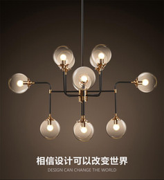 Wholesale Art Deco Clothing - North Europe led modo pendant light globe art glass chandelier DNA pendant lights 12 globe glass lampshade for coffee clothing lighting