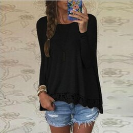 Wholesale Tee Shirt Jumper Lace - Wholesale- 2017 Spring Loose Women Sweater Pullovers Casual O-Neck Tunic Jumper Lace Splice Irregular Hem Tops Tees Shirts Pull Femme Hiver