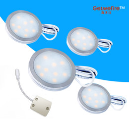 Wholesale Dc Spotlight - New kind 4pcs Input v 12 DC 1.8W LED Puck Cabinet Light,LED spotlight+1pcs connector line
