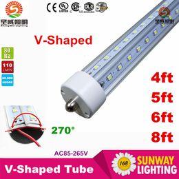 Wholesale 6ft Led T8 Tube Wholesale - T8 V-Shaped Led Tube Cooler Light 4ft 5ft 6ft 8 ft Single Pin fa8 Led Light Tubes 270 Angle Double Sides AC 85-265V