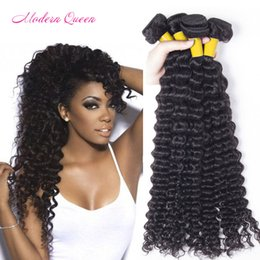 Wholesale Thick Curly Hair Extensions - Modern Queen Indian Deep Wave Human Hair Extensions 4Bundles Indian Deep Curly Hair Weft Cheap Raw Indian Deep Curl Hair Weaves Soft & Thick