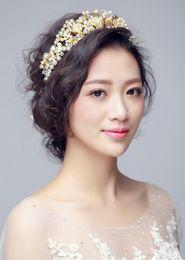 Wholesale Diamond Tiara Pearl - Wedding Bridal Handmade Bridal European Crown Pearl Diamond Tiara Hairbands Wreath Headdress Crown Fashion Hair Jewelry Accessories 2018