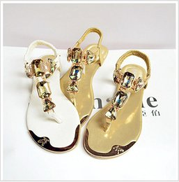 Wholesale Ladies Low Heel Rhinestone Sandals - Hot Sales 2016 New Summer Shoes Rhinestone Ladies Fashion Casual Flat Shoes Student Crystal Comfort Girl Flip Flop Sandals B054