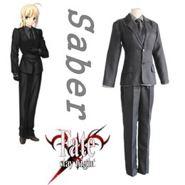 Wholesale Fate Stay Night Game - Japanese Anime Fate Stay Night Cosplay Black Saber Costume Arturia Pendragon Uniform Coat+shirt+tip+pants per set
